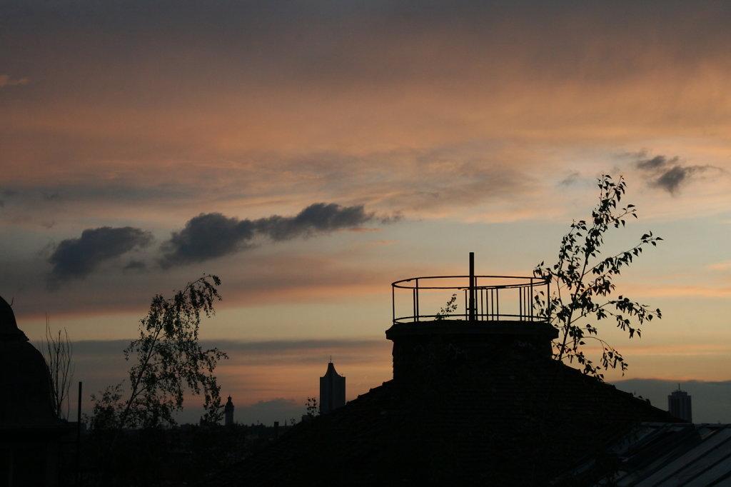 Sonnenuntergang Fabrikdach VEB Polygraphiemaschienen  9632